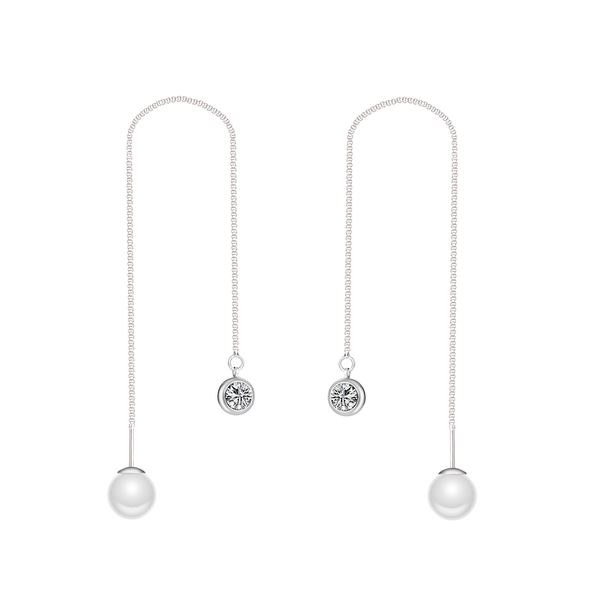 Silver-Tone Pearl Thread Earrings