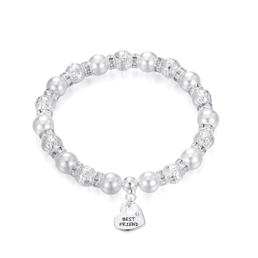 Pearl and Crystal Best Friend Charm Bracelet