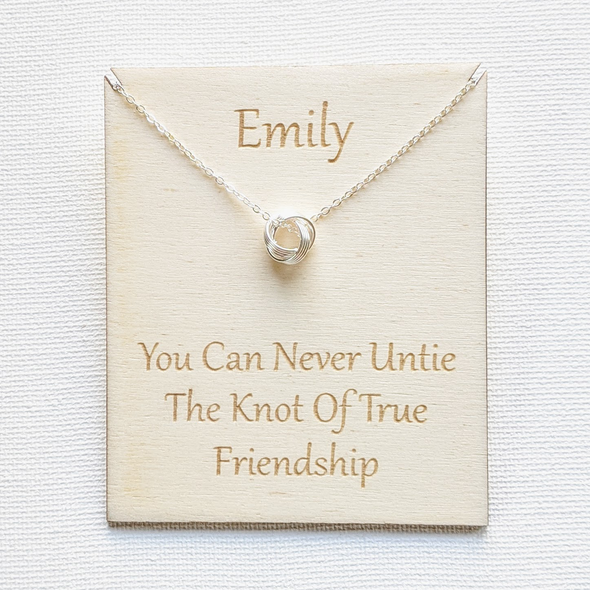 Personalised Sterling Silver Friendship Quote Knot Necklace