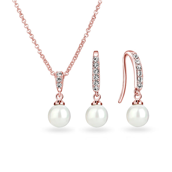 Rose Gold Pearl Drop Set Created with Swarovski Crystals