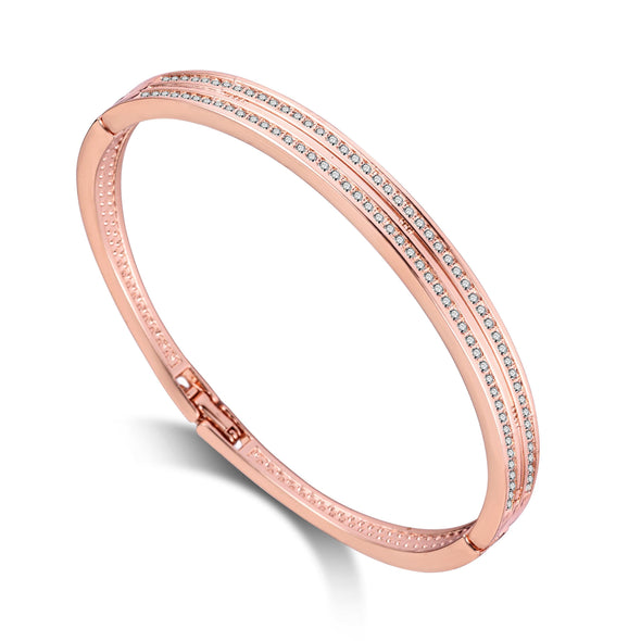 Rose Gold Plated Double Row Bangle Created with Swarovski Crystals