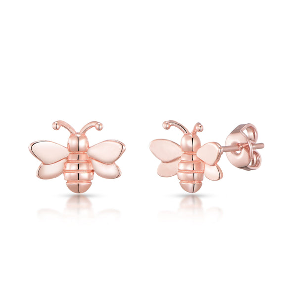 Rose Gold Plated Bumble Bee Earrings
