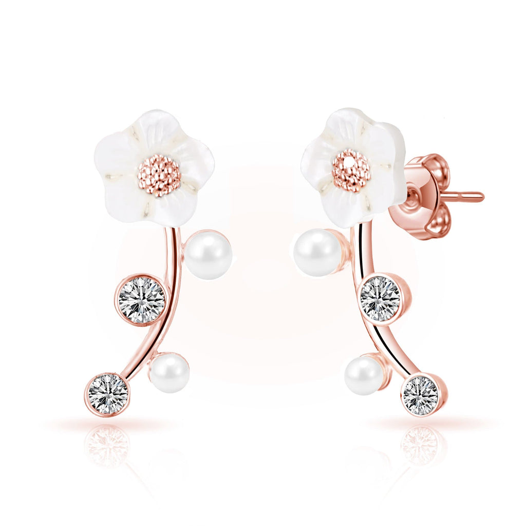 Rose Gold Daisy Climber Earrings Created with Swarovski® Crystals