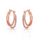 Rose Gold Double Hoop Earrings Created with Swarovski® Crystals