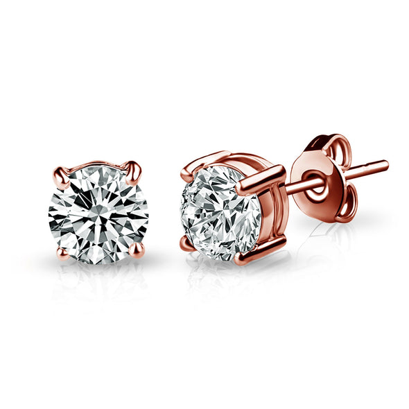 Rose Gold Solitaire Crystal Stud Earrings Created with Swarovski® Crystals