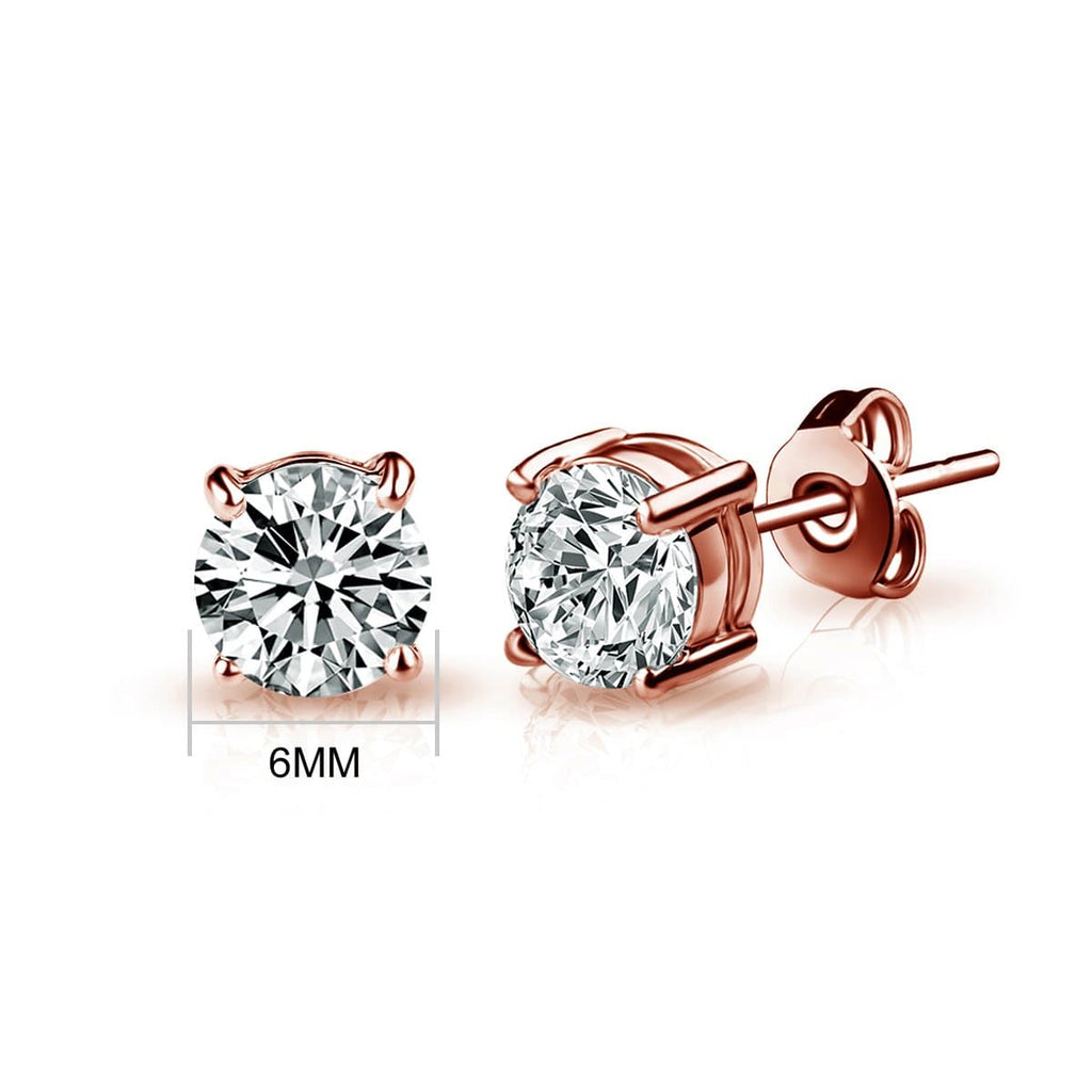 Rose Gold 6mm Earrings Created with Swarovski® Crystals