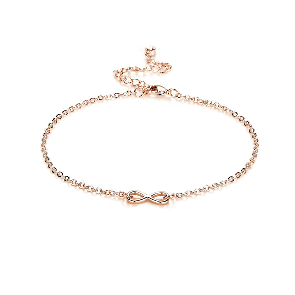Rose Gold Infinity Anklet Created with Swarovski Crystals