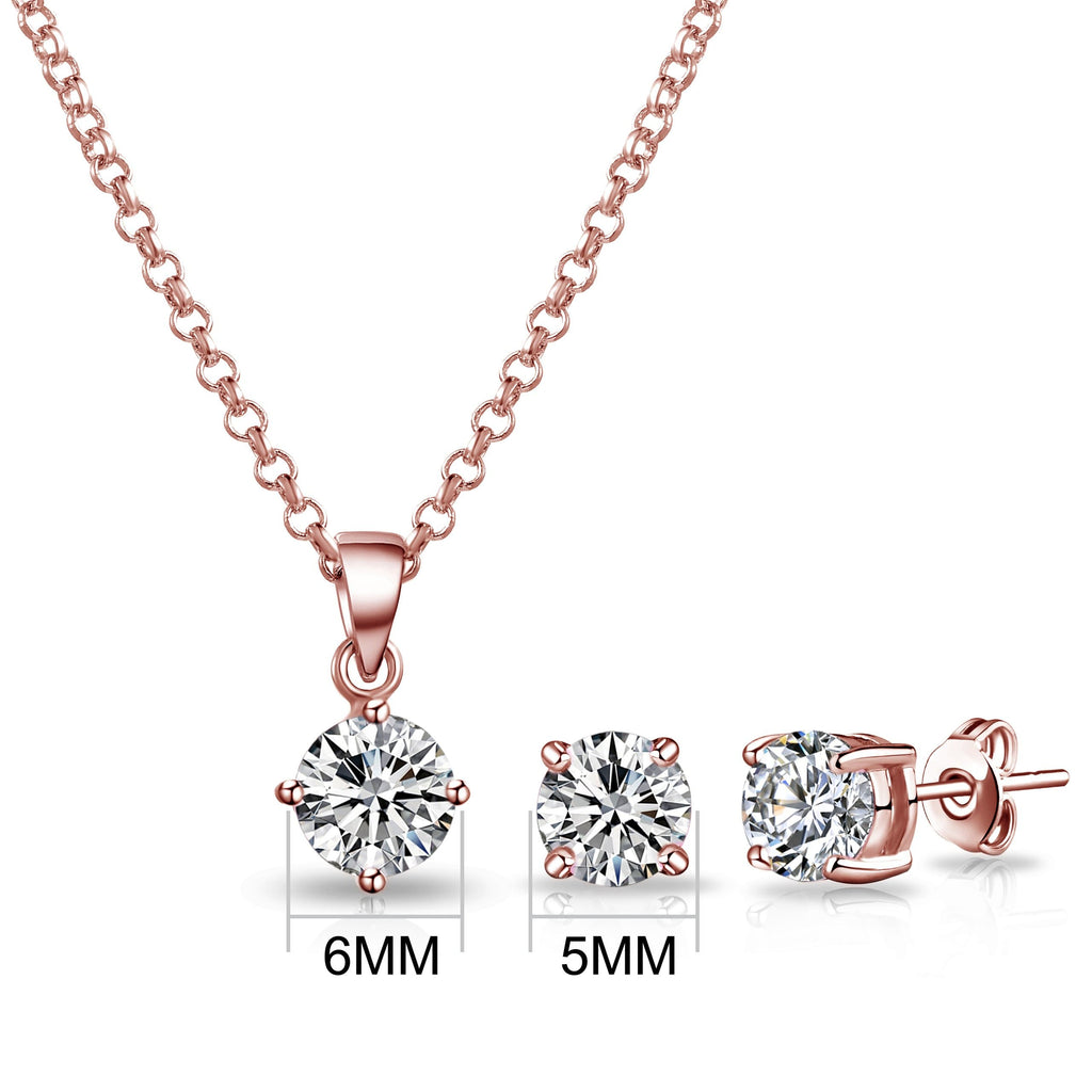 Rose Gold Round Solitaire Set Created with Swarovski® Crystals