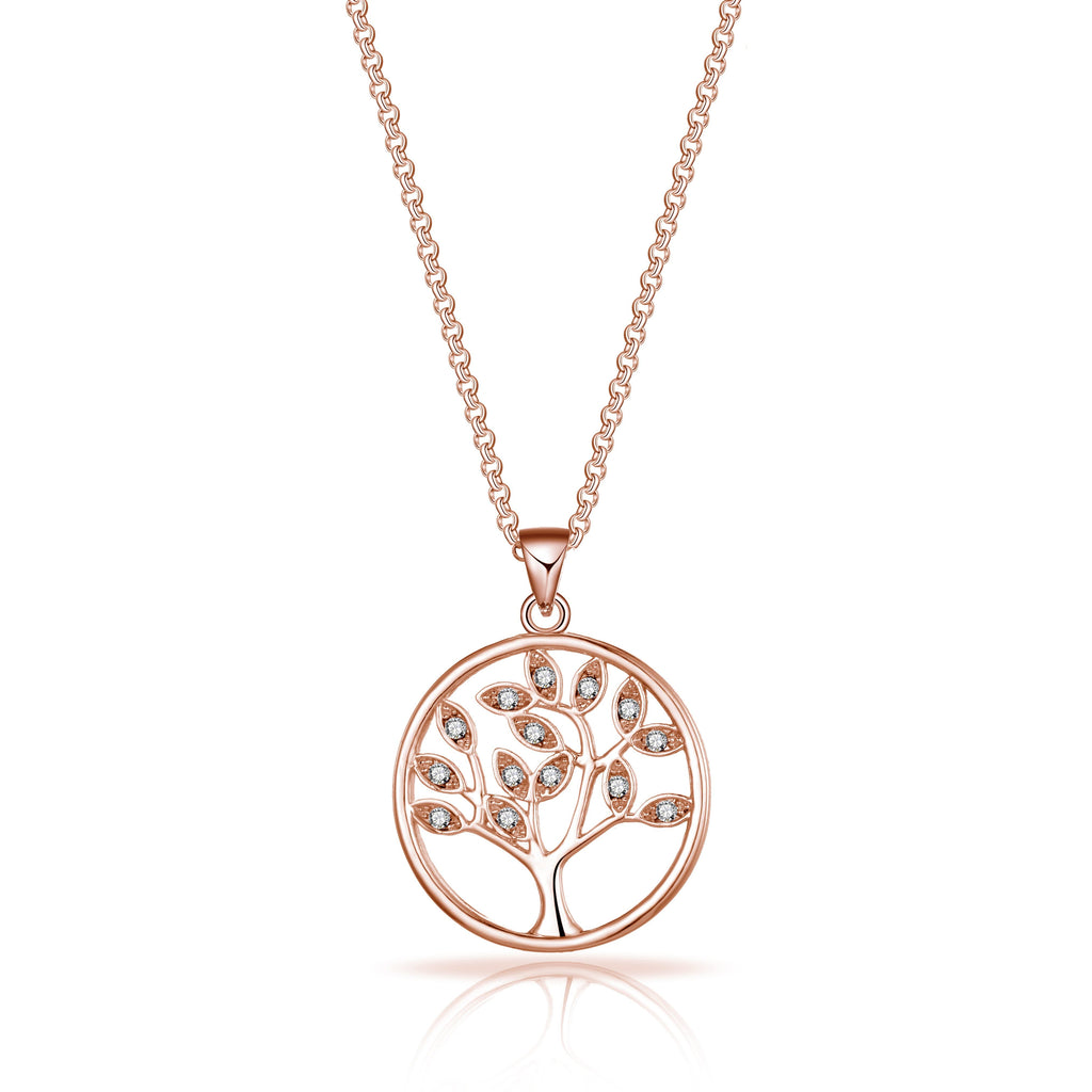 Rose Gold Plated Tree of Life Necklace Created with Swarovski Crystals