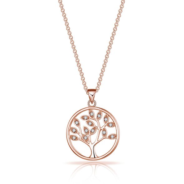 Rose Gold Tree of Life Necklace Created with Swarovski® Crystals