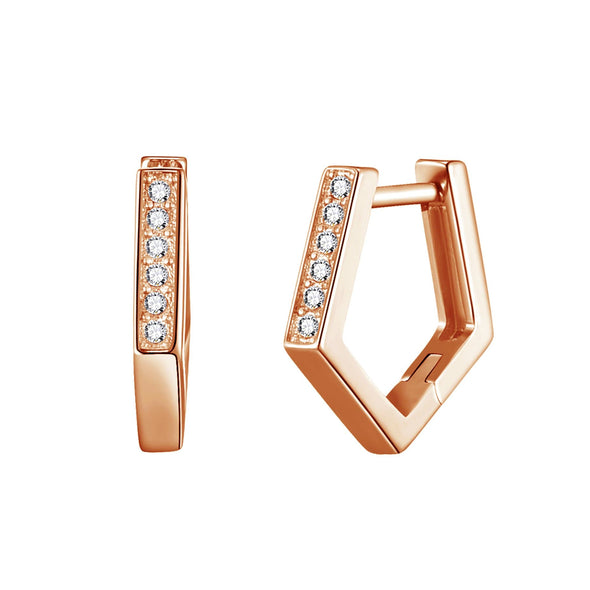 Rose Gold Geometric Hoop Earrings Created with Swarovski® Crystals