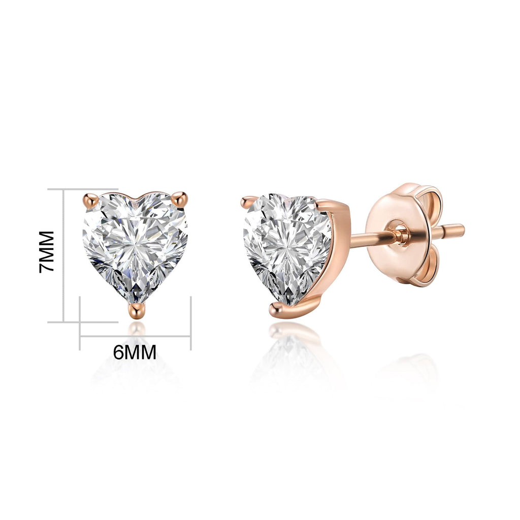 Rose Gold Heart Earrings Created with Swarovski® Crystals
