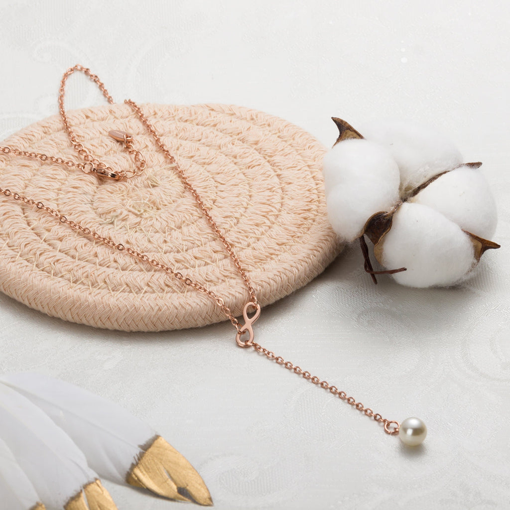 Rose Gold Infinity Pearl Necklace