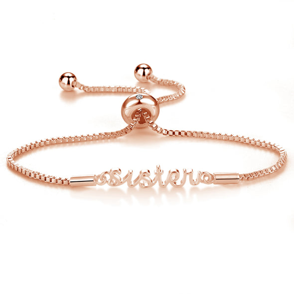 Rose Gold Sister Bracelet Created with Swarovski® Crystals