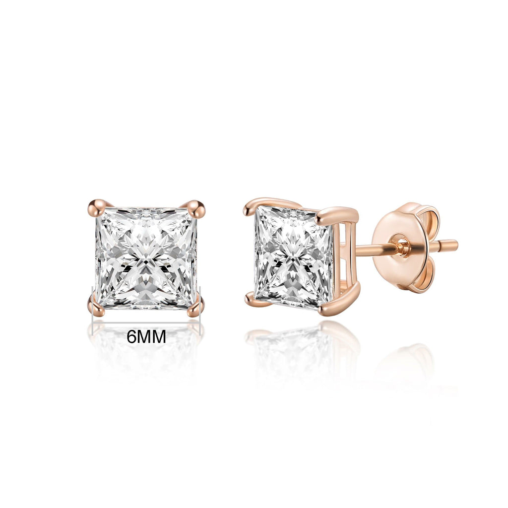 Rose Gold Square Earrings Created with Swarovski® Crystals