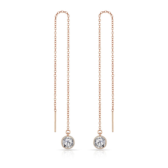 Rose Gold Sterling Silver Thread Earrings Created with Swarovski® Crystals