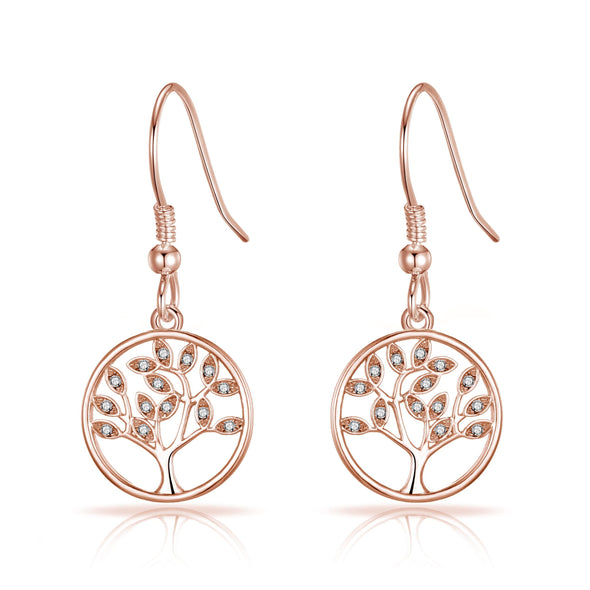 Rose Gold Tree of Life Drop Earrings Created with Crystals from Swarovski®
