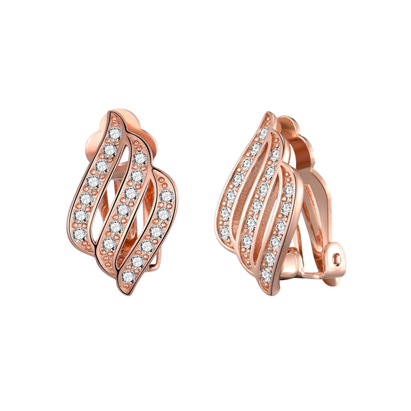 Rose Gold Triple Row Clip On Earrings Created with Swarovski® Crystals
