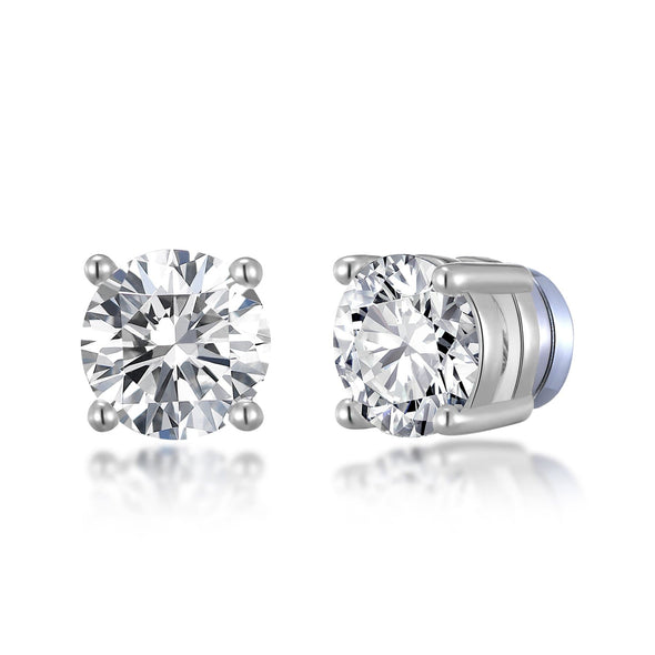 Silver Round Magnetic Clip On Stud Earrings Created with Swarovski® Crystals