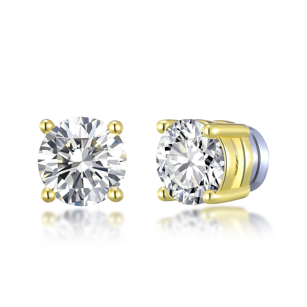Gold Round Magnetic Clip On Stud Earrings Created with Swarovski® Crystals