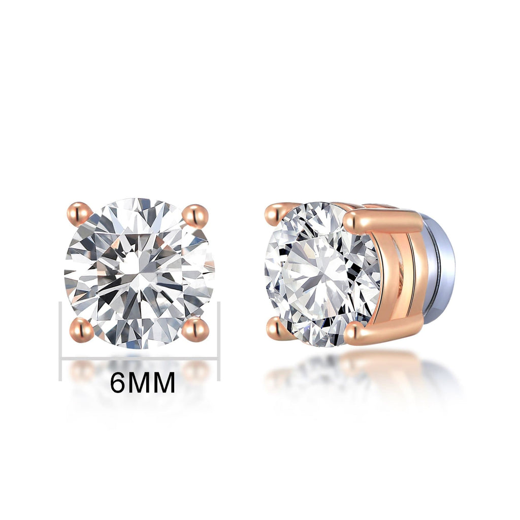 Rose Gold Round Magnetic Clip On Stud Earrings Created with Swarovski® Crystals