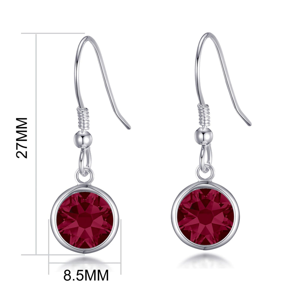 July Birthstone Drop Earrings Created with Ruby Swarovski® Crystals