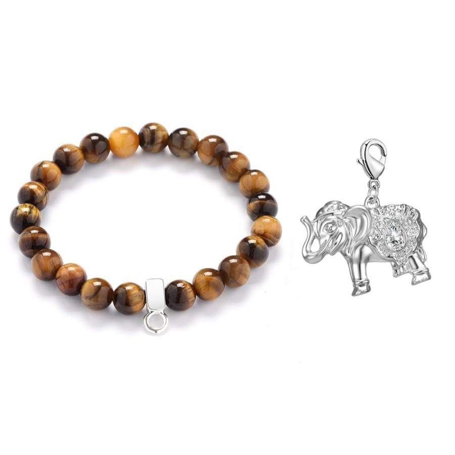 Elephant Tiger's Eye Gemstone Charm Bracelet