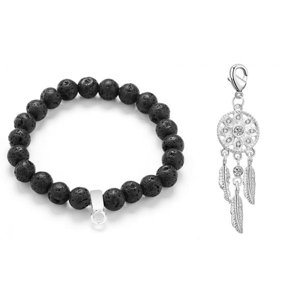Dream Catcher Lava Rock Gemstone Charm Bracelet