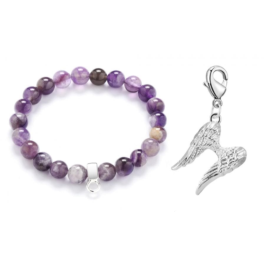 Angel Wings Amethyst Gemstone Charm Bracelet
