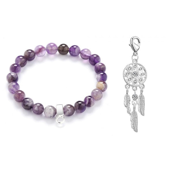 Dream Catcher Amethyst Gemstone Charm Bracelet