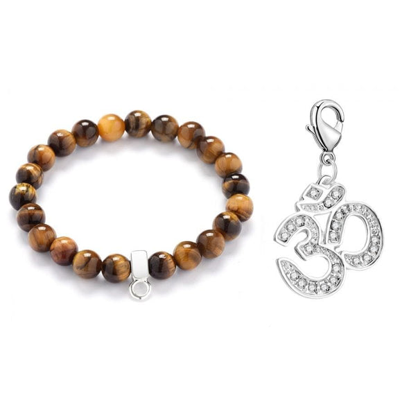 Om Tiger's Eye Gemstone Charm Bracelet
