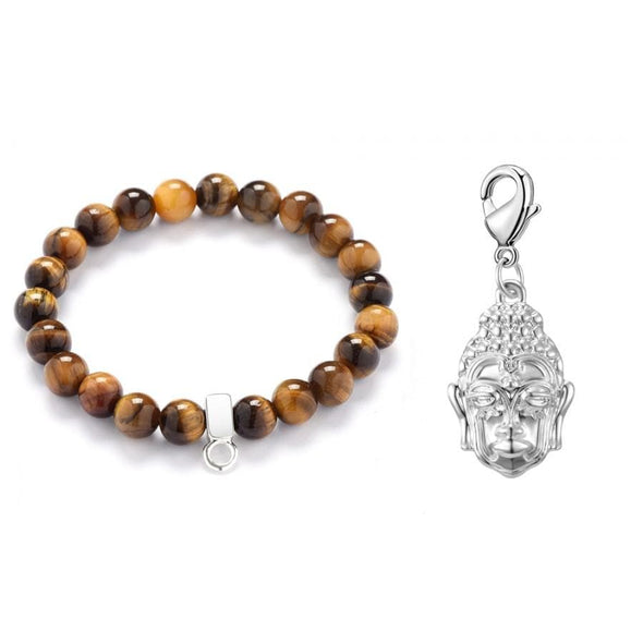 Buddha Tiger's Eye Gemstone Charm Bracelet