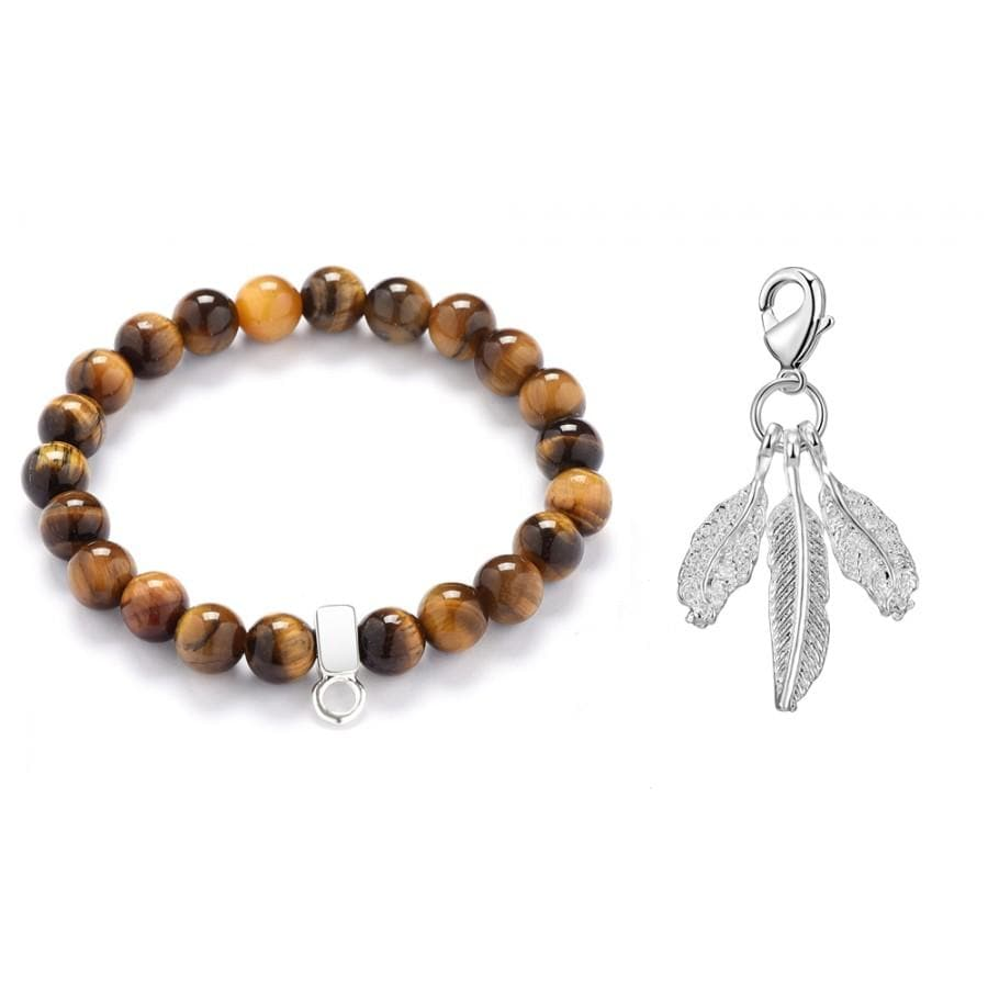 Feathers Tiger's Eye Gemstone Charm Bracelet