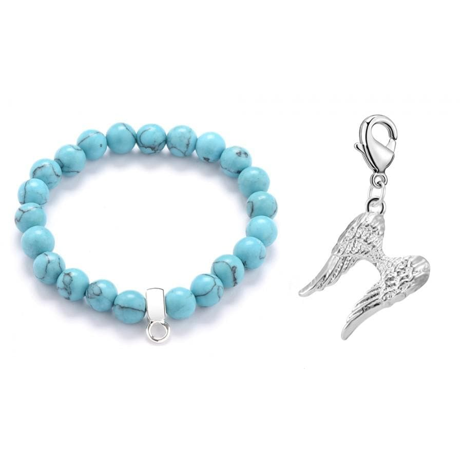 Angel Wings Turquoise Gemstone Charm Bracelet