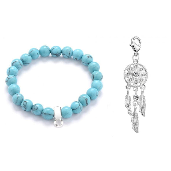 Dream Catcher Turquoise Gemstone Charm Bracelet