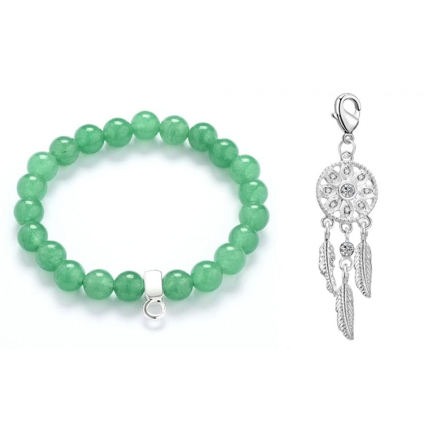 Dream Catcher Jade Gemstone Charm Bracelet