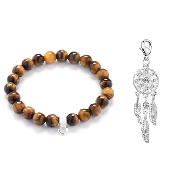 Dream Catcher Tiger's Eye Gemstone Charm Bracelet