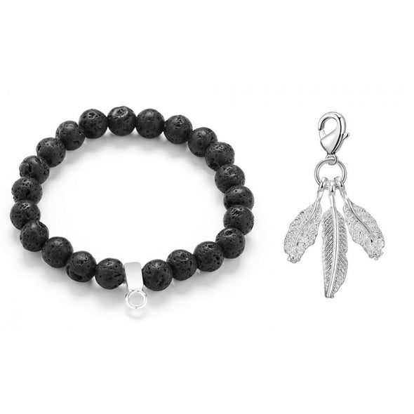 Feathers Lava Rock Gemstone Charm Bracelet