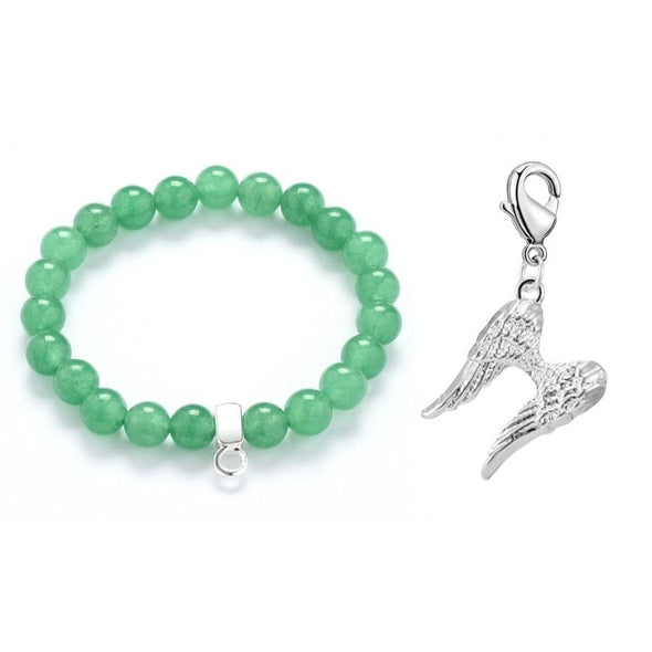 Angel Wings Jade Gemstone Charm Bracelet