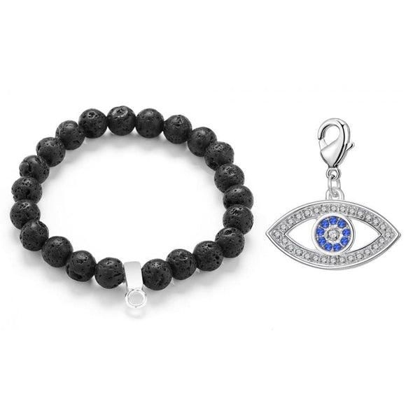 Evil Eye Lava Rock Gemstone Charm Bracelet