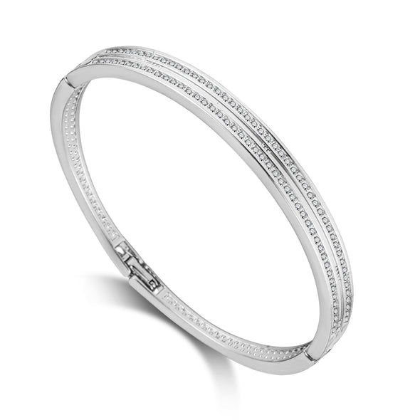 Silver Plated Double Row Bangle Created with Swarovski Crystals