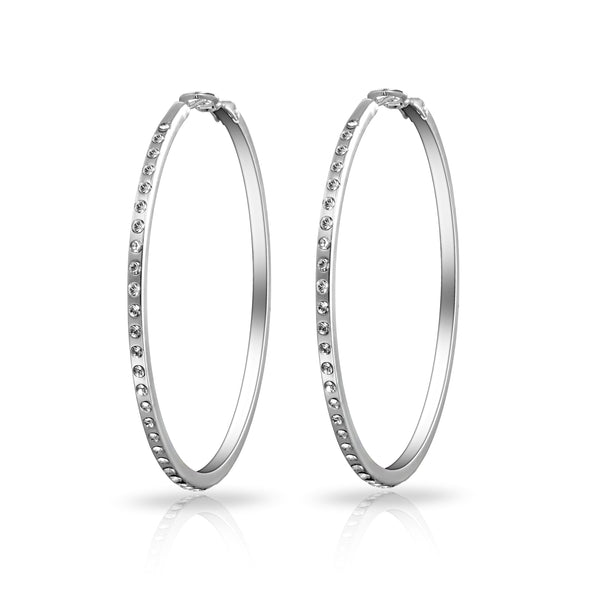 Silver 50mm Hoop Earrings Created with Swarovski Crystals