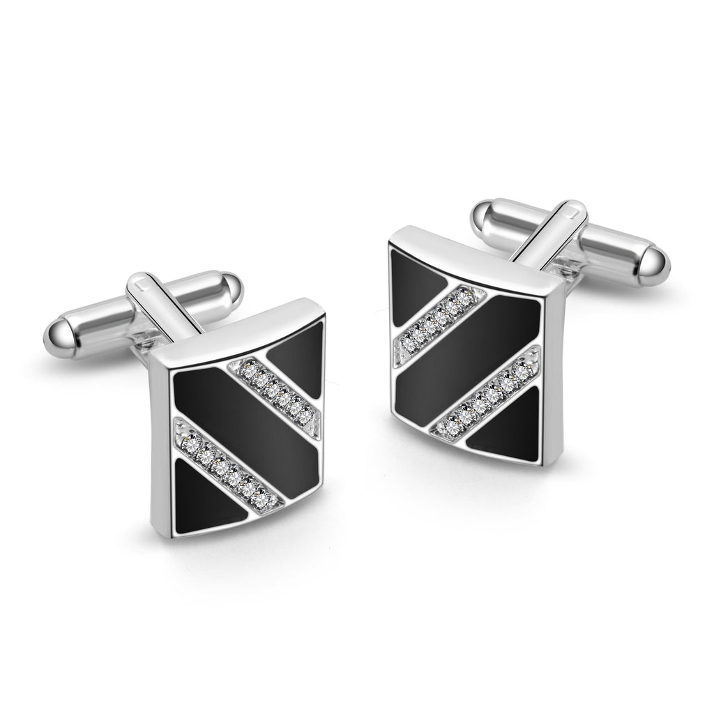 Silver and Enamel Cufflinks Created with Swarovski Crystals