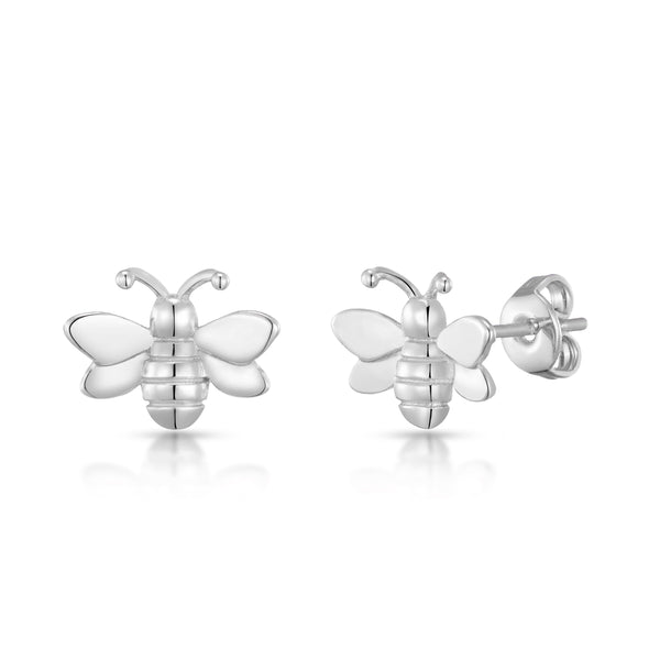 Silver-Tone Bumble Bee Earrings