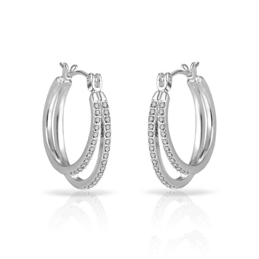 Silver Double Hoop Earrings Created with Swarovski Crystals