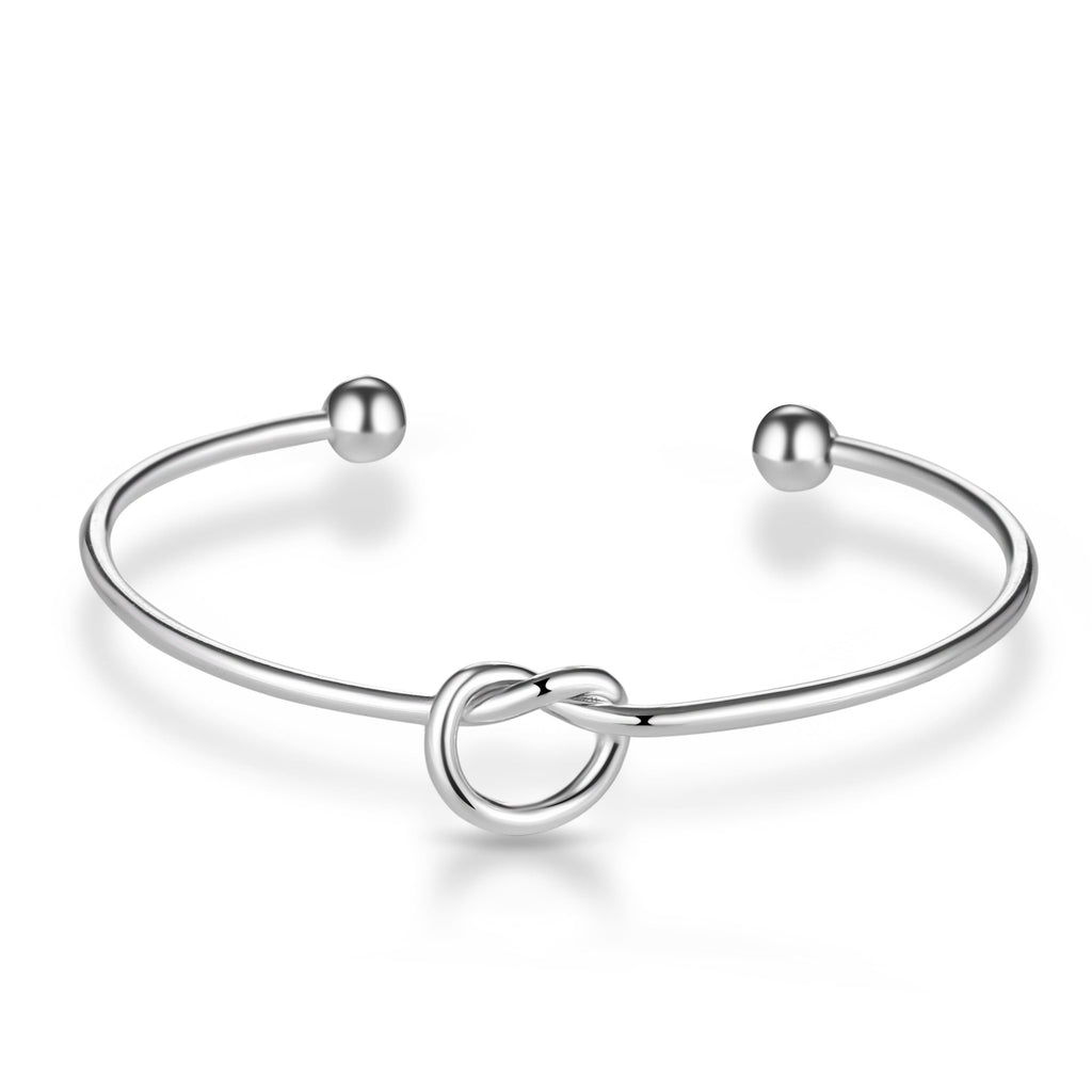 Silver Love Knot Cuff Bangle