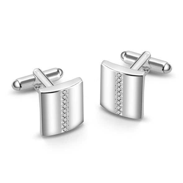 Silver Cufflinks Created with Swarovski Crystals