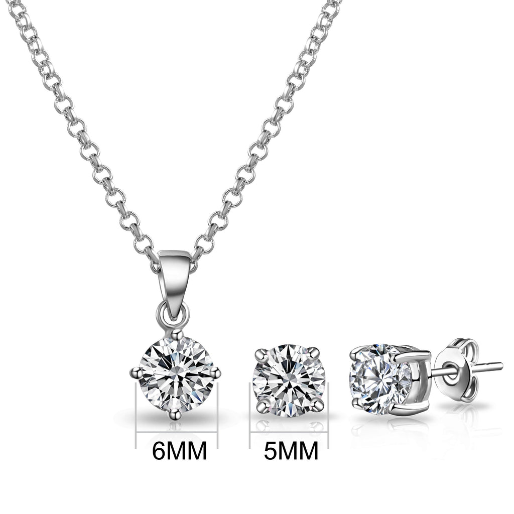 Silver Round Solitaire Set Created with Swarovski® Crystals