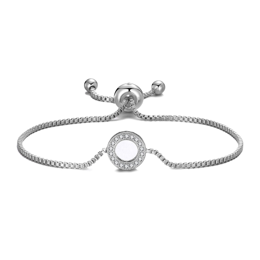Silver Circle of Life Friendship Bracelet Created with Swarovski® Crystals
