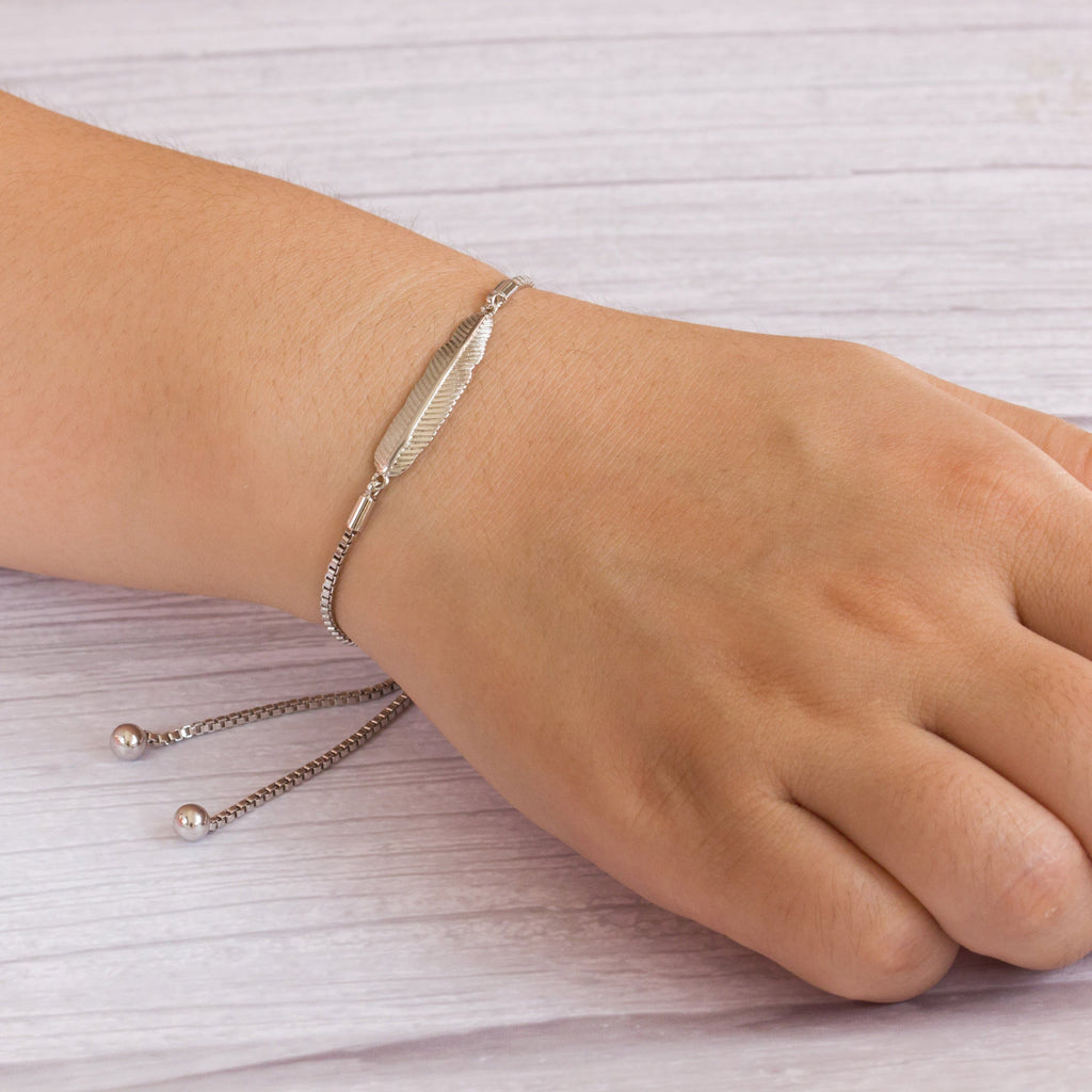 Silver Feather Friendship Bracelet Created with Swarovski® Crystals